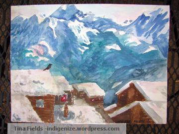 Swiss mountain painting, Riederalp, by Tina Fields