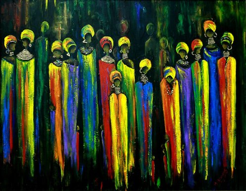 """Gogo and the Ancestors"" - painting by Marietjie Henning"